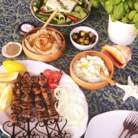 Greek Lamb Souvlaki, mashed Garlicky Cannelini beans and Tzaziki