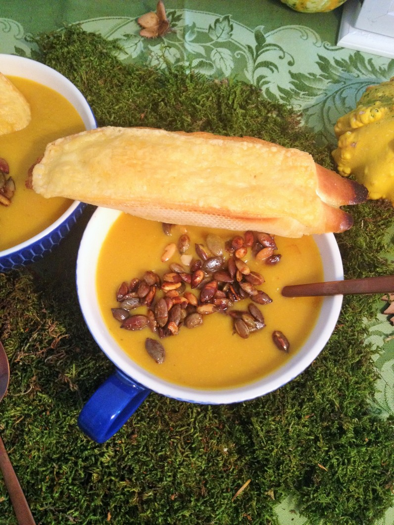 Spiced Pumpkin Soup with a twist...This soup recipe will become one of your favorites, it's quick and easy to make. Smooth and comfort food at it's best.I thecookingspoon.org