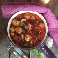 Rustic Chicken meatball, Beans and Tomato Stew with Courgette