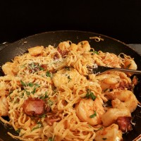 Garlic Herb Shrimp with Bacon over Angel Hair Pasta
