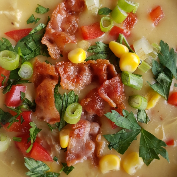 Chicken and Corn Soup with crispy Bacon