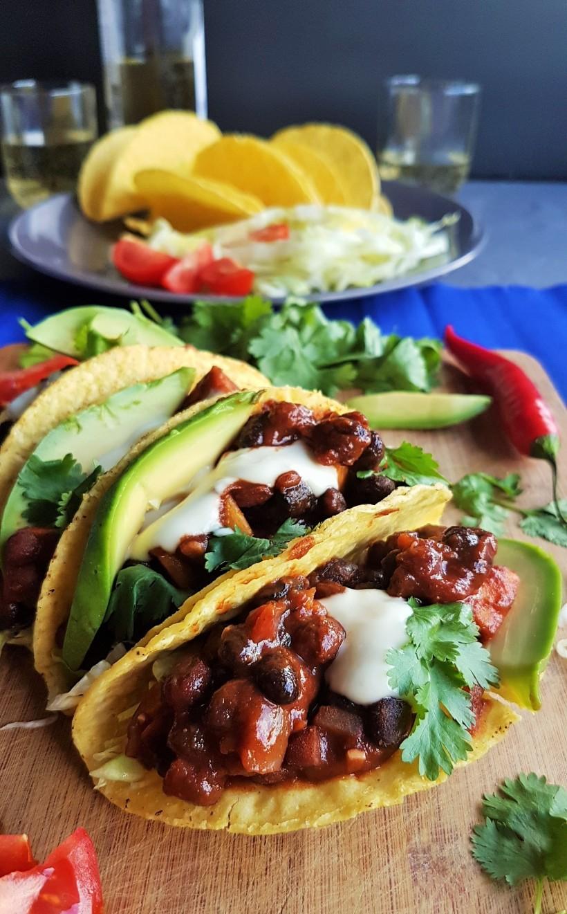 Smokey Black Bean Sweet Potato Tacos