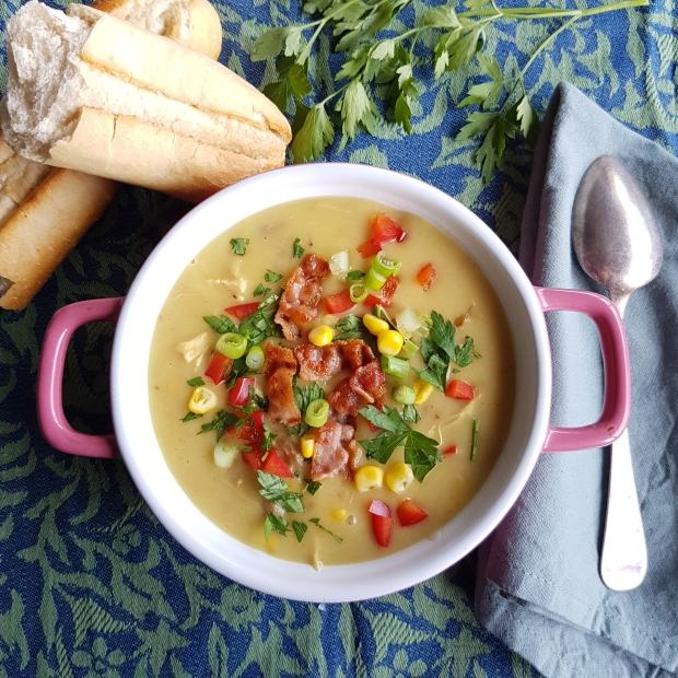 Chicken, Corn and Bacon soup